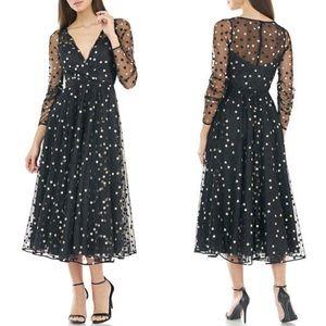 New Carmen Marc Valvo Polka Dot Tulle Midi Dress